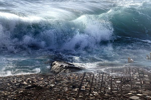 tsunami y agua sucia