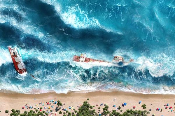tsunami en la playa